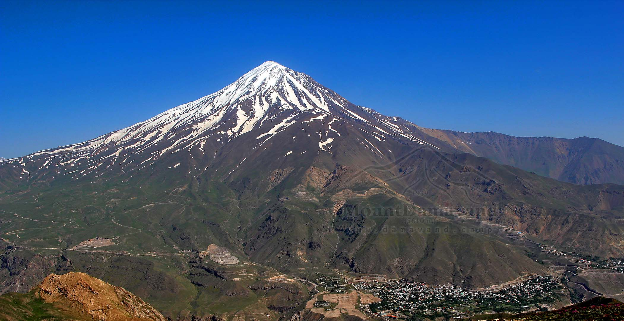 View of Mount Damavand from Do-Berar Ridge